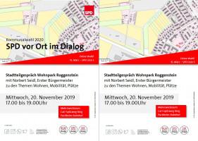 Postkarte SPD im Dialog vor Ort Wohnpark Roggenstein 20.11.2019