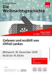 Plakat Lesung Weihnachtsgeschichte Otfrid Lankes im ZaP