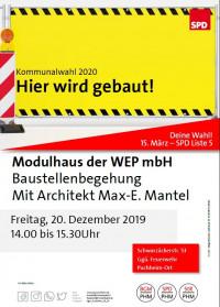 Plakat Baustellenbesichtigung Modulhäuser Puchheim-Ort 20.12.2019