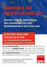 Plakat Festakt 70. Geburtstag Grundgesetz