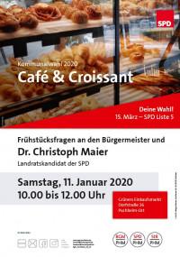 Plakat Café und Croissant bei Grüners kleinem Einkaufsmarkt mit Norbert Seidl und Dr. Christoph Maier