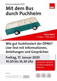 Plakat SPD Aktiv - Mit dem Bus durch Puchheim