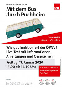 Plakat Mit dem Bus durch Puchheim 17.1.2020