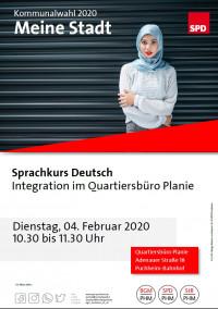 Plakat Besuch Sprachkurs Deutsch Quartiersbüro 4.2.2020