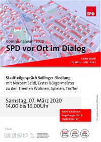 SPD im Dialog - Plakat Stadtteilgespräch Sollinger-Siedlung 7.3.2020
