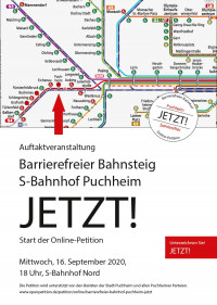 Plakat Auftakt Online-Petition Barrierefreier S-Bahnhof Puchheim 16.9.2020