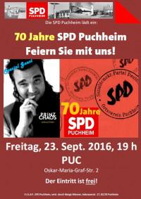 Jubiläum 70 Jahre SPD Puchheim - Plakat zur Veranstaltung