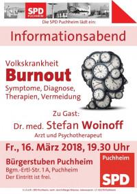 Plakat Infoabend Burnout mit Dr. med. Stefan Woinoff
