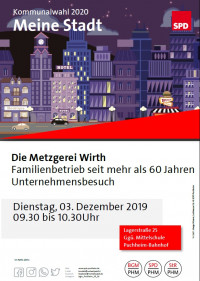 Plakat Meine Stadt Besuch Metzgerei Wirth 3.12.2019