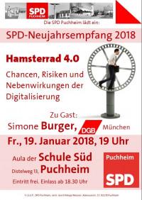 Plakat zum SPD-Neujahrsempfang 2018 mit Simone Burger