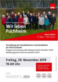 Plakat Vorstellung KandidatInnen und Programm 2020-2026 am 29.11.2019