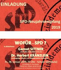 Einladung SPD-Neujahrsempfang 2019 mit Gernot Sittner und Dr. Herbert Kränzlein
