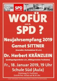Plakat SPD-Neujahrsempfang 2019 mit Gernot Sittner und Dr. Herbert Kränzlein