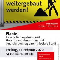 Plakat Baustellenbegehung Planie 21.2.2020