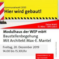 Plakat Baustellenbegehung Modulhäuser 20.12.2019
