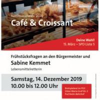 Plakat Café und Croissant am 14.12.2019 mit Sabine Kemmet