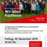 Plakat Vorstellung Kandidaten und Programm SPD Puchheim 29.11.2019