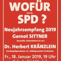 Plakat SPD-Neujahrsempfang 2019 mit Gernot Sittner